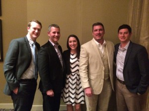 Some of the North Coast Media team at the 2016 TOCA awards dinner in Omaha (from left): Grant Gannon, Bill Roddy, Marisa Palmieri, Craig MacGregor and Jake Goodman.